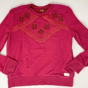 7 for All Mankind Size 10-12 Burgundy Sweatshirt